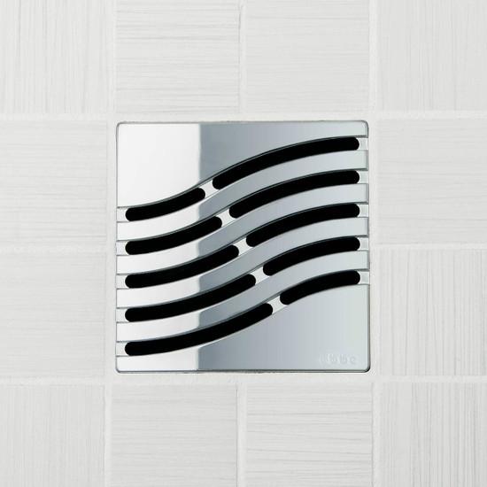 Ebbe UNIQUE Tsunami Shower Drain Cover, Polished Chrome Finish