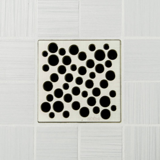 Ebbe UNIQUE Bubbles Shower Drain Cover, Brushed Nickel Finish