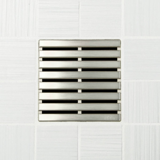 Ebbe UNIQUE Parallel Shower Drain Cover, Brushed Nickel Finish