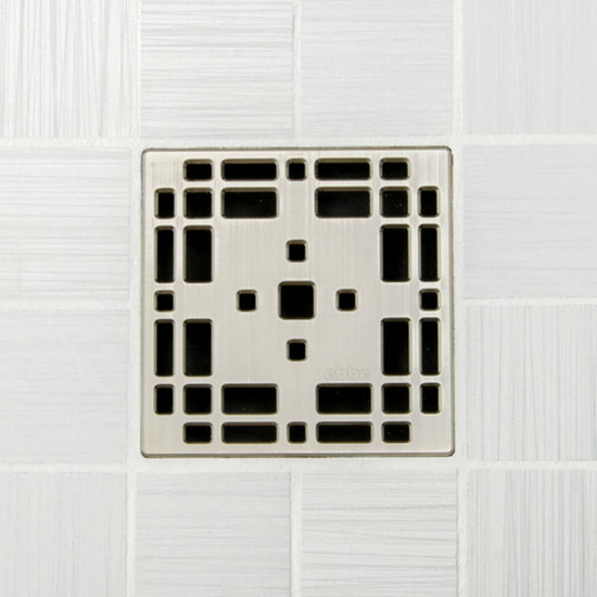 Ebbe UNIQUE Prairie Shower Drain Cover, Brushed Nickel Finish