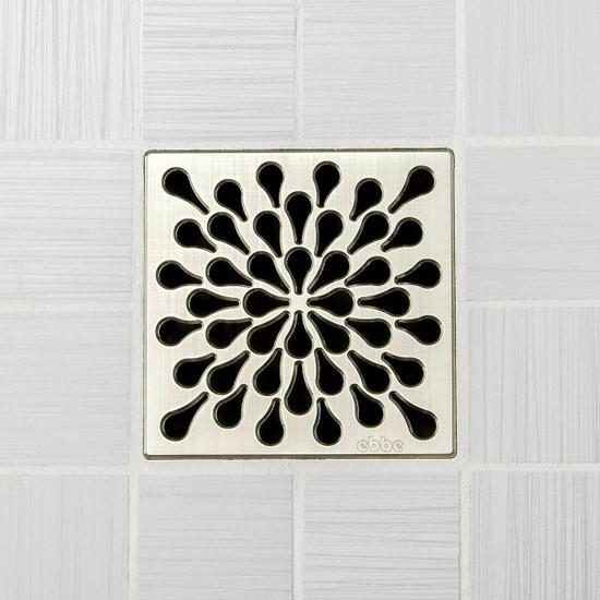 Ebbe UNIQUE Splash Shower Drain Cover, Brushed Nickel Finish