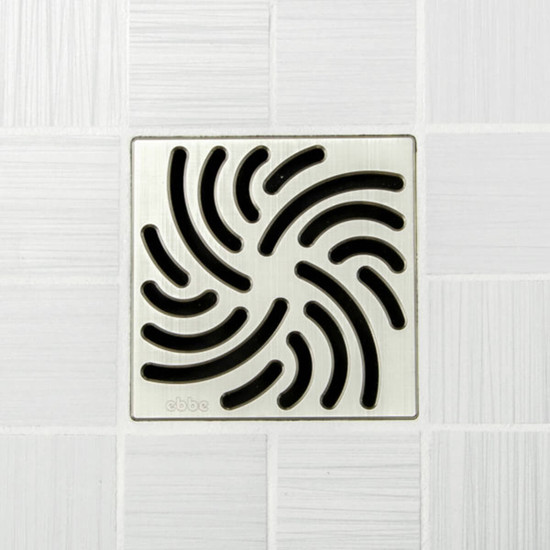Ebbe UNIQUE Twister Shower Drain Cover, Brushed Nickel Finish