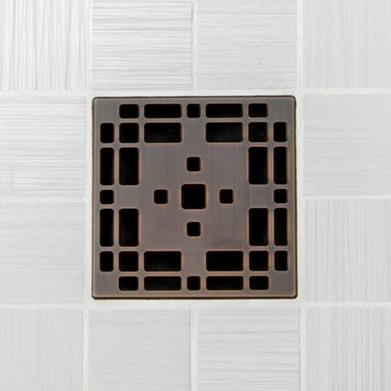 Ebbe UNIQUE Prairie Shower Drain Cover, Oil Rubbed Bronze Finish
