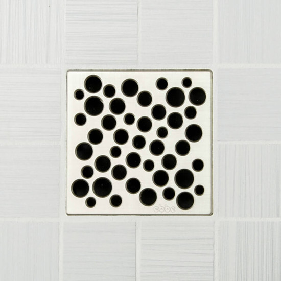 Ebbe UNIQUE Bubbles Shower Drain Cover, Satin Nickel Finish