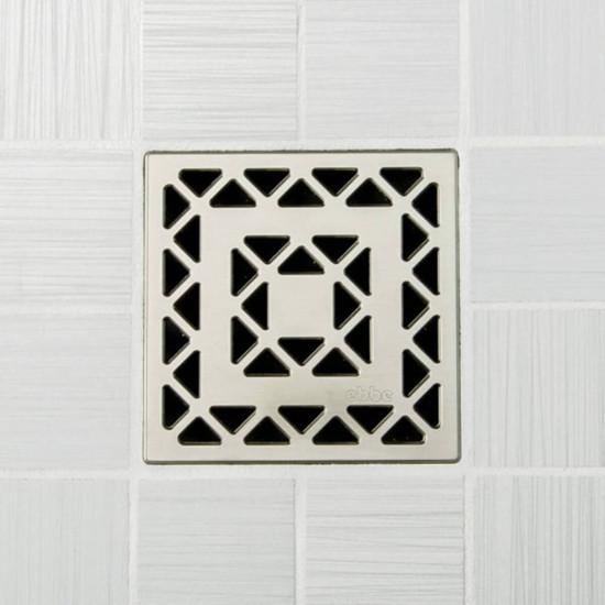 Ebbe UNIQUE Lattice Shower Drain Cover, Satin Nickel Finish