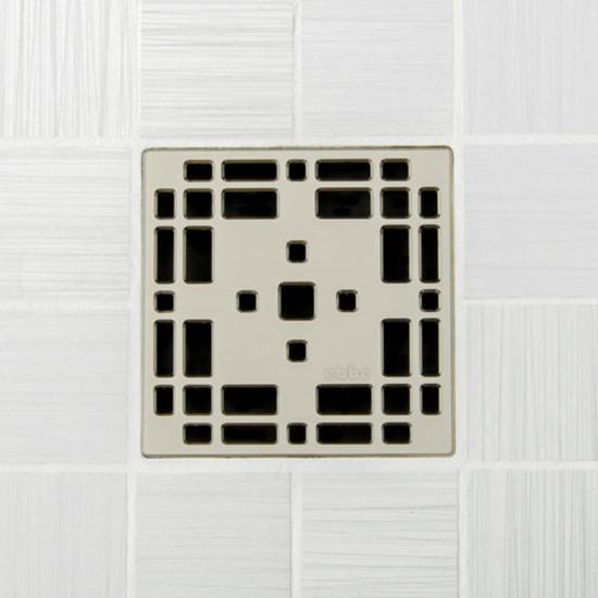 Ebbe UNIQUE Prairie Shower Drain Cover, Satin Nickel Finish