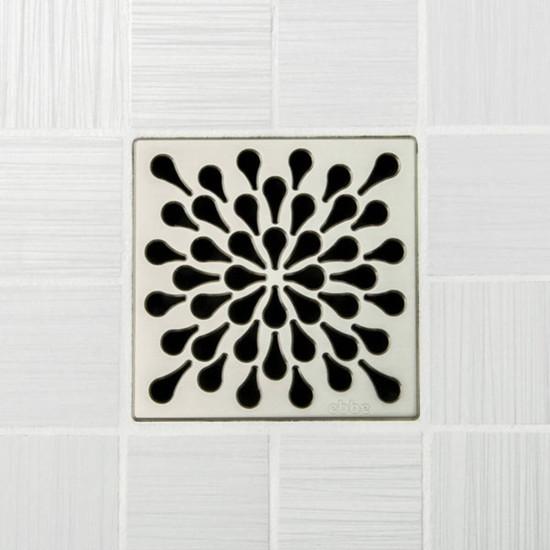 Ebbe UNIQUE Splash Shower Drain Cover, Satin Nickel Finish