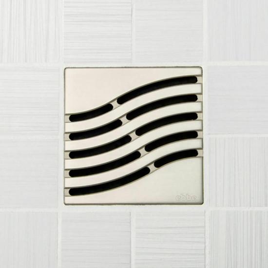 Ebbe UNIQUE Tsunami Shower Drain Cover, Satin Nickel Finish