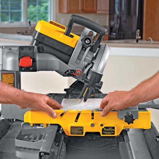 Dewalt D24000 Tile Saw cutting 22.5 miter cut on tile