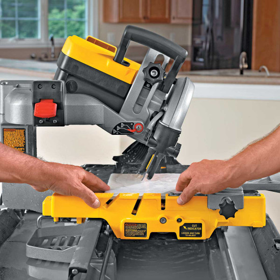 Dewalt D24000 Tile Saw cutting 22.5 miter cut on tile