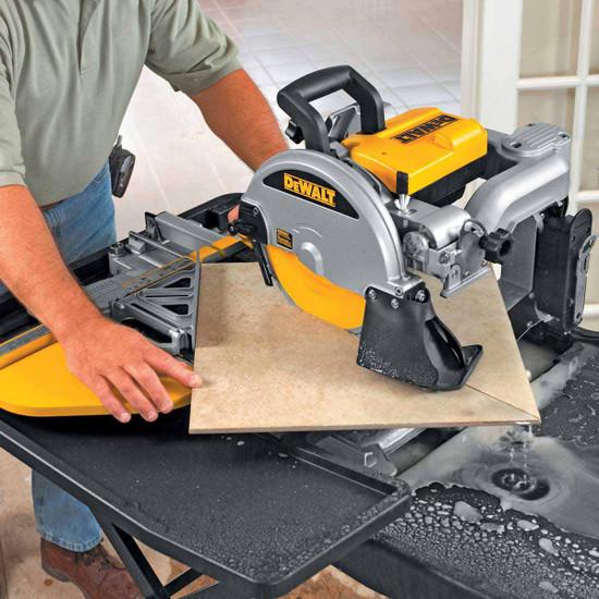 Dewalt D24000 Tile Saw cutting 18 inch tile diagonal