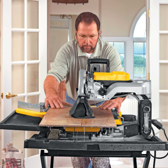 Dewalt D24000 Tile Saw cutting tile back view
