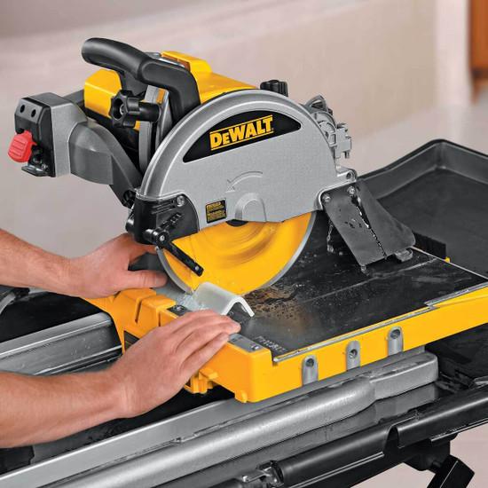 Dewalt D24000 Tile Saw cutting tile bullnose trim