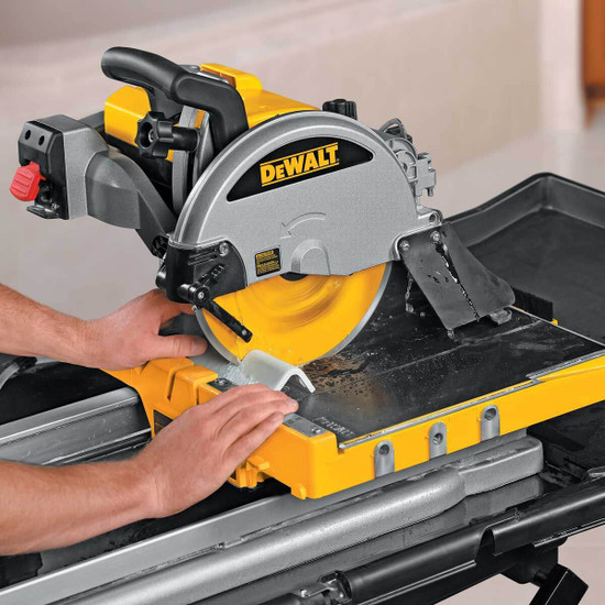 Dewalt D24000 Tile Saw cutting tile bullnose trim