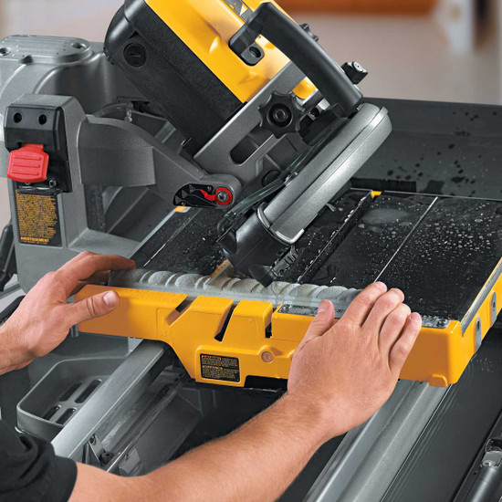 Dewalt D24000 Tile Saw cutting tile trim on 45 miter