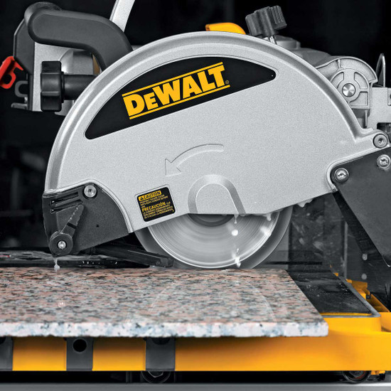 Dewalt D24000 Tile Saw cutting with profile wheel