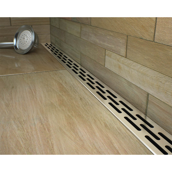 Low profile linear shower drains with slotted strainer