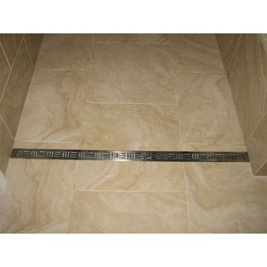 Porcelain tile shower installation with cross-hatch linear drain