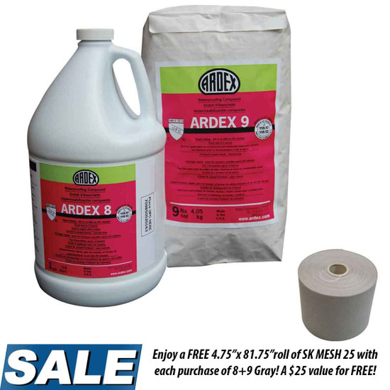 """Ardex 8+9 Gray Rapid Waterproofing and Crack Isolation Compound Convenient Kit with SK MESH 25 4.75"""" x 81.75' Reinforcement Fabric"""