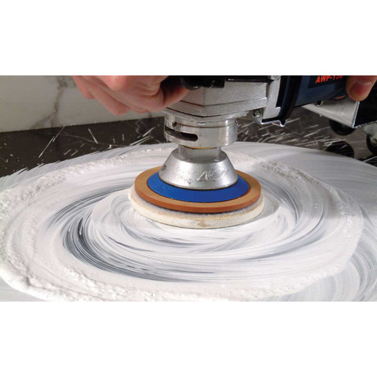 Polishing Counter Tops with Felt Wheel and Powder