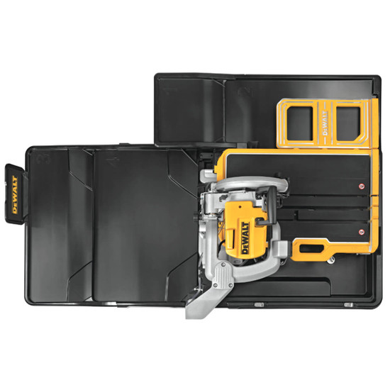 """Dewalt D36000 18"""" cutting clearance to the left of the blade that allows you to cut a 36"""" tile in half"""