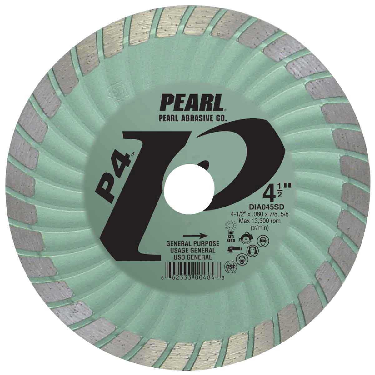 pearl sd 4 1/2in dry cutting turbo diamond blade