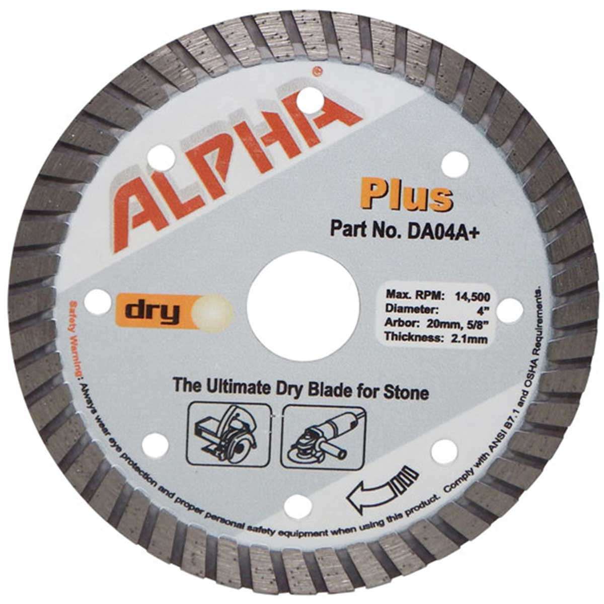 alpha plus 4in dry cutting diamond blade