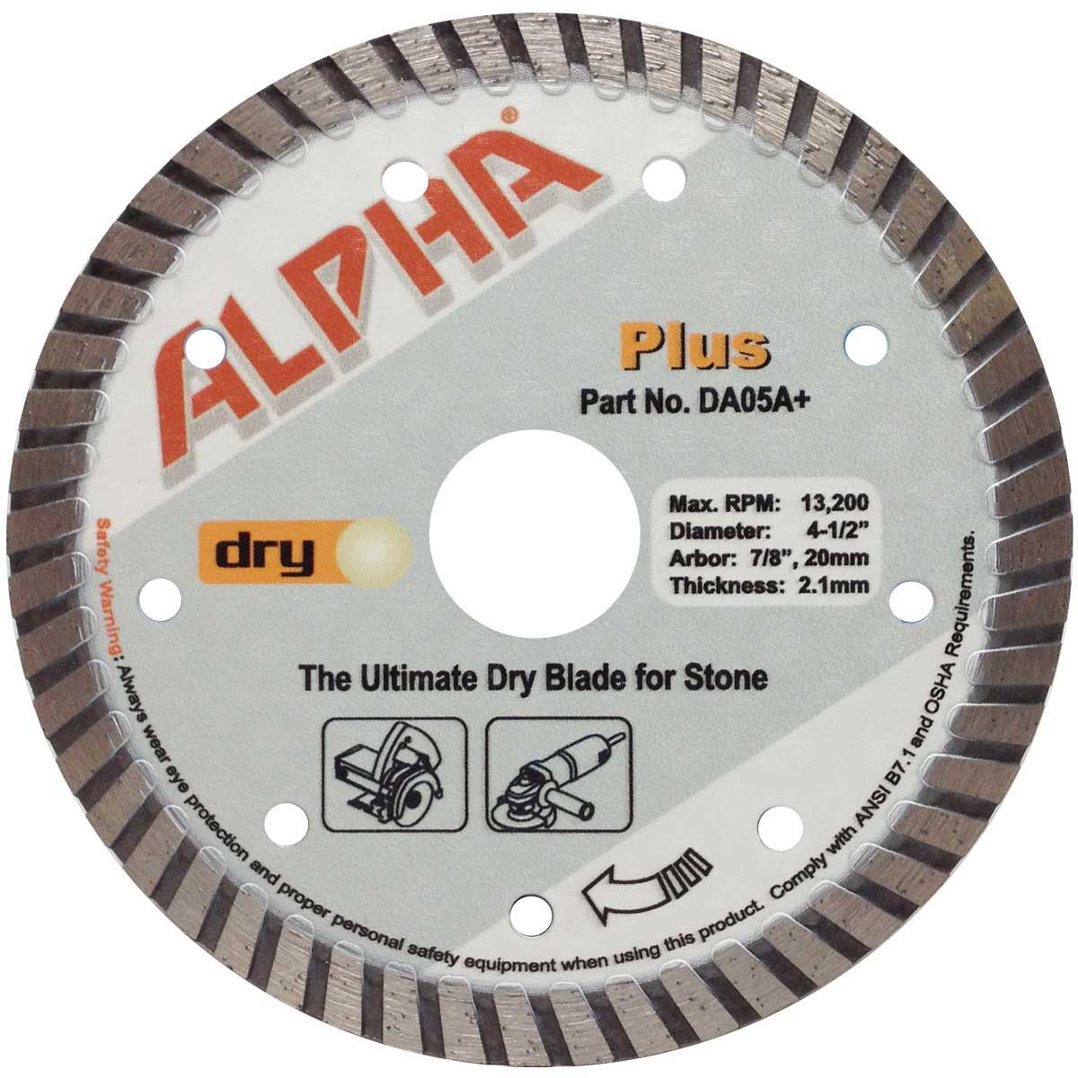 alpha plus 4i 1/2in dry cutting diamond blade