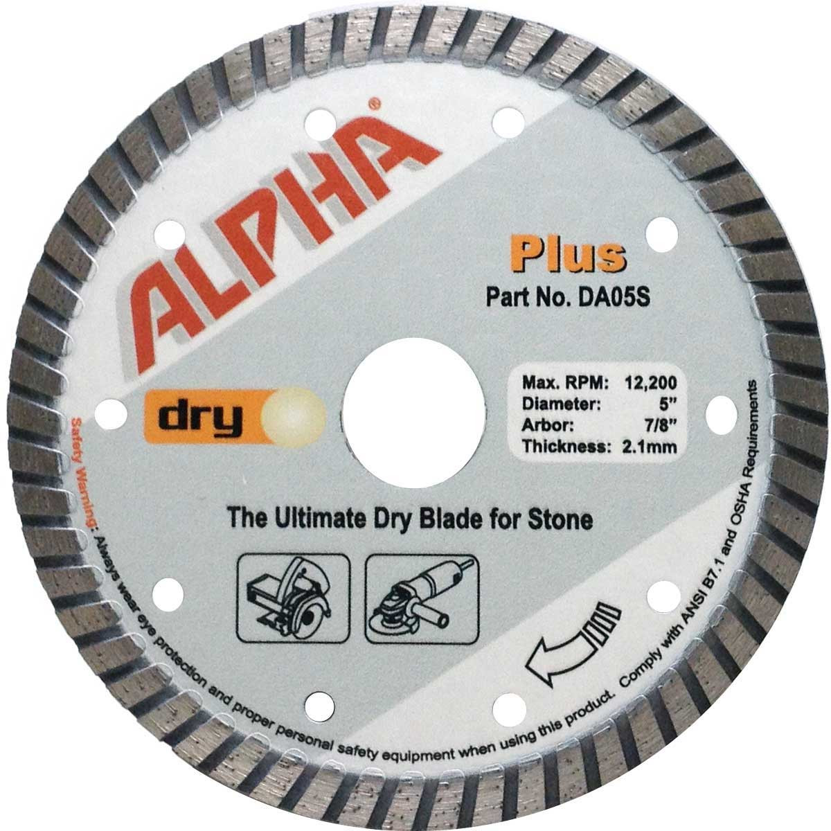 alpha plus 5in dry cutting diamond blade