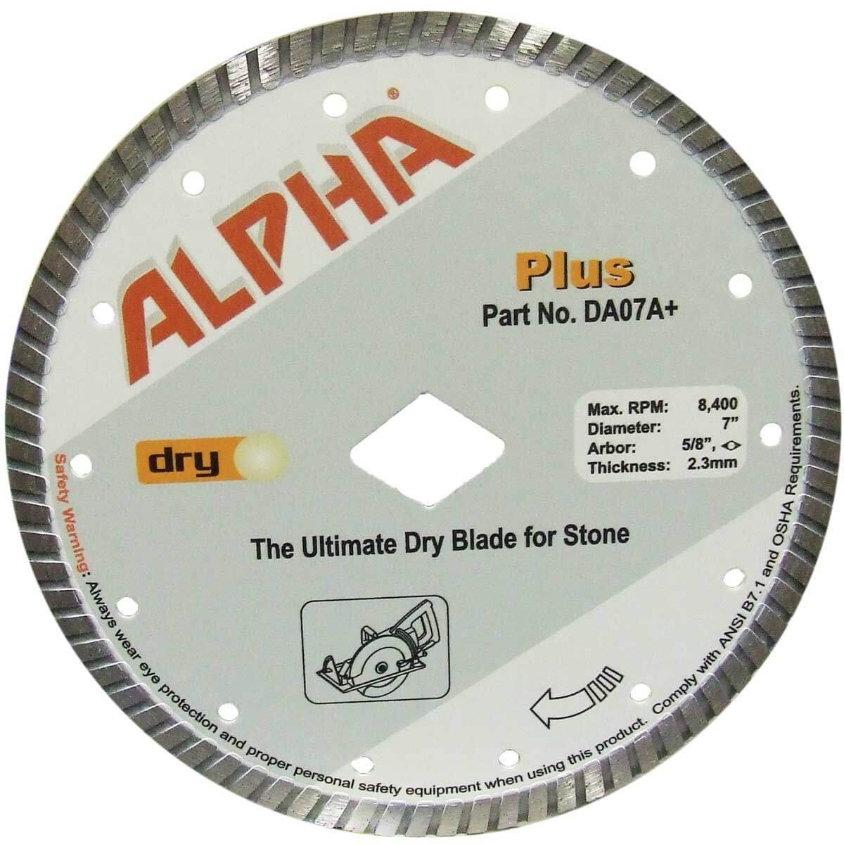 alpha plus 7in dry cutting diamond blade