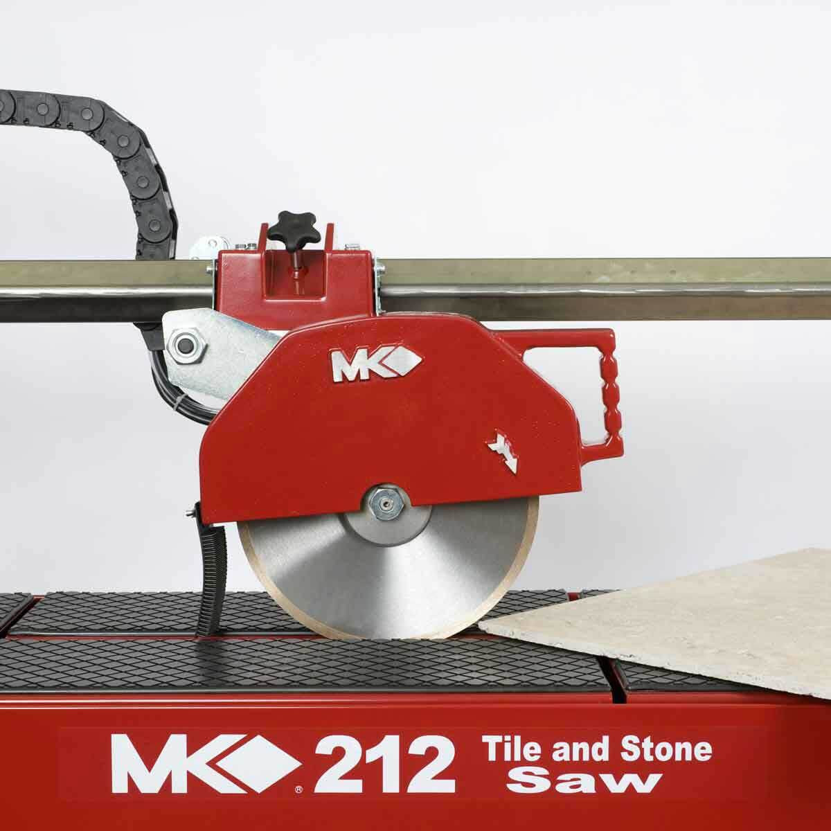 MK 212-4 rail saw cutting tile at a 45 degree angle