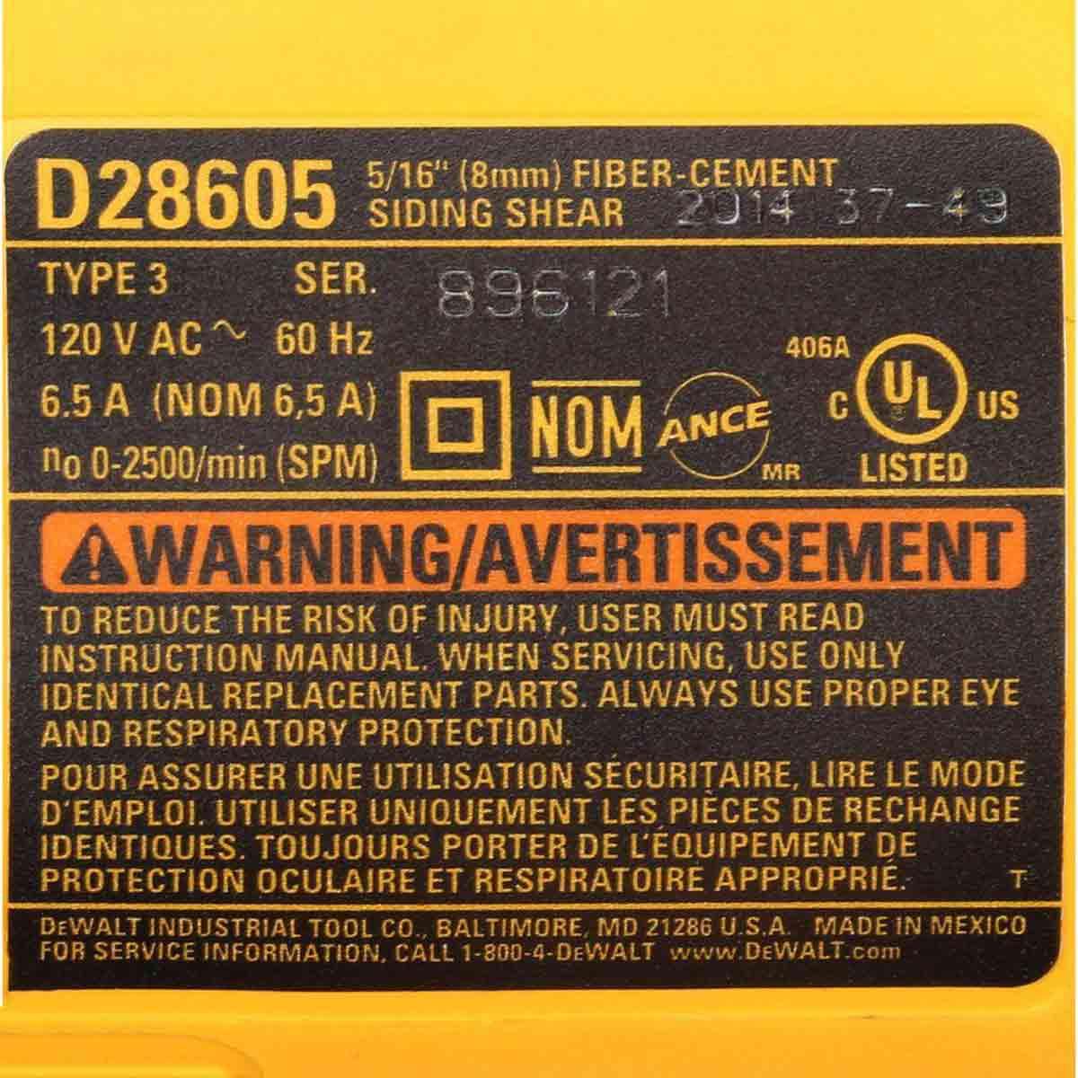 D28605 Dewalt shear motor label