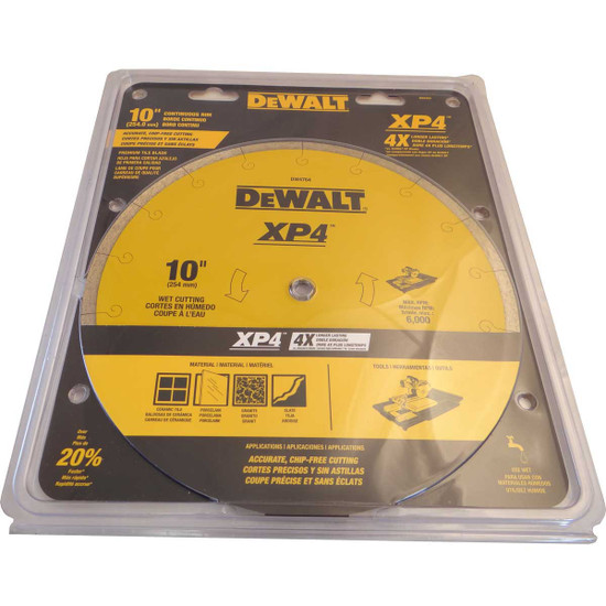 dewalt 10in xp4 wet porcelain diamond blade packaged