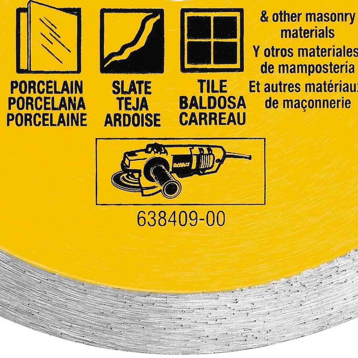 dewalt 4 1/2in dry porcelain tile blade rim