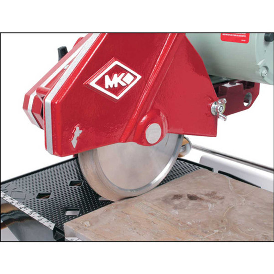 MK 101 wet tile saw has a cutting head that allows for plunge cuts and use of blades smaller than 10 in diameter, 1-1/2 hp Belt Driven motor 151991