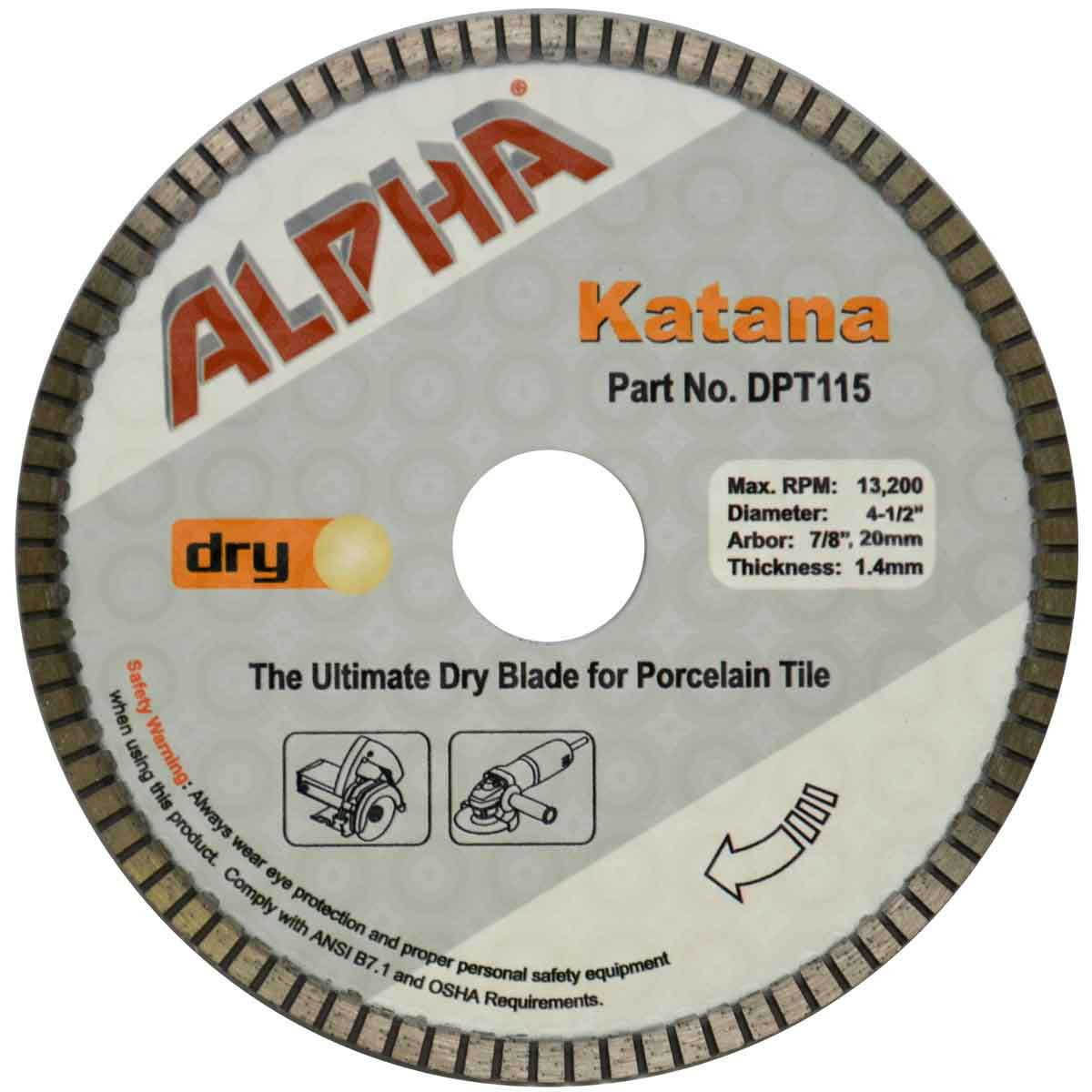 alpha 4 1/2in katana dry tile blade