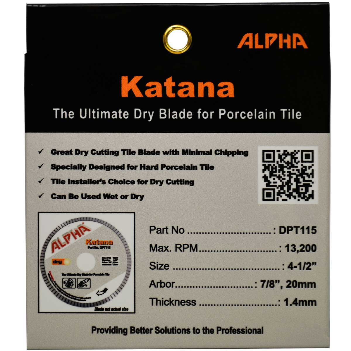 alpha 4 1/2in katana dry tile blade package
