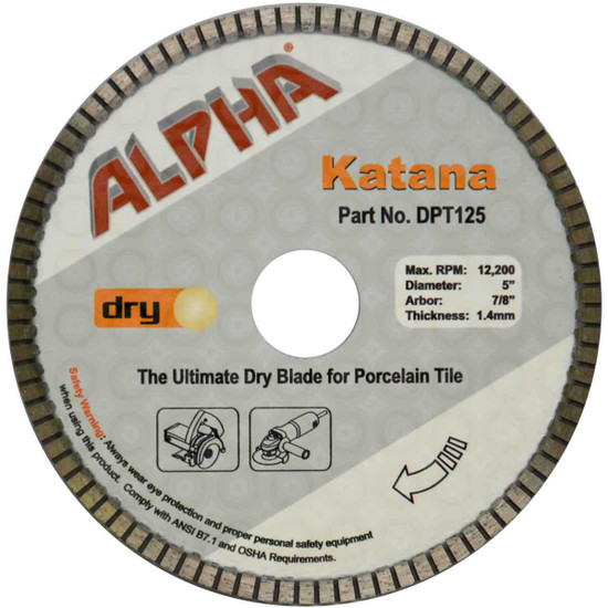 Alpha Katana Dry Tile Saw Blade cutting porcelain Wet Stone Cutter or popular angle grinder