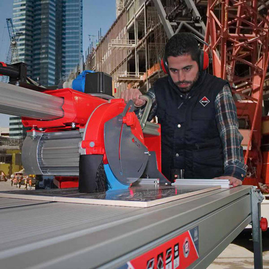 Rubi DS-250-N Stone Saw Cuts Granite
