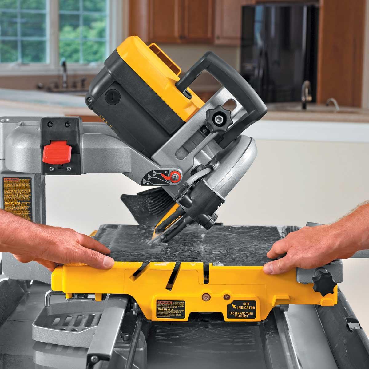 miter cut granite with dewalt saw