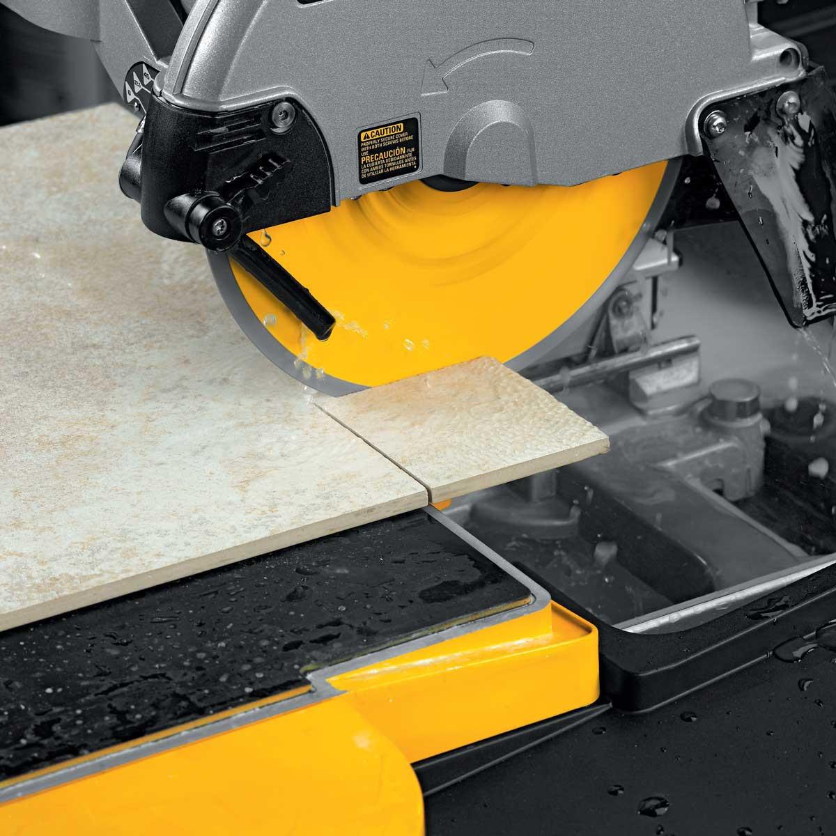 corner cuts with dewalt wet saw