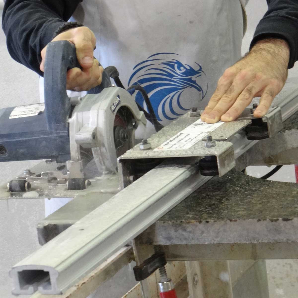 Alpha Guide Rail System cutting with hand held saw