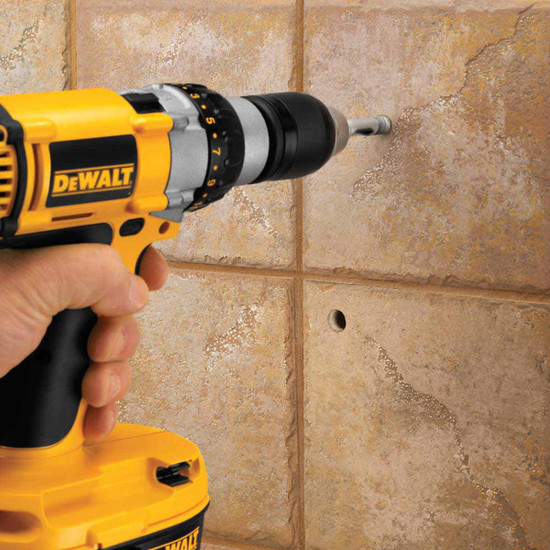 dewalt drill and porcelain bit
