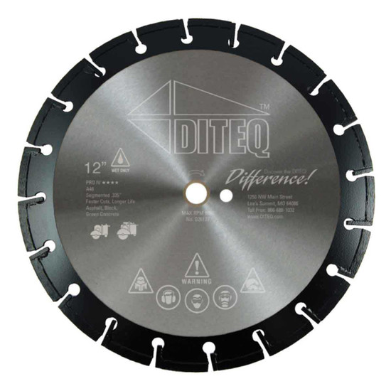 Diteq 14 inch Flat Saw PRO IV Green Concrete and Asphalt Blade