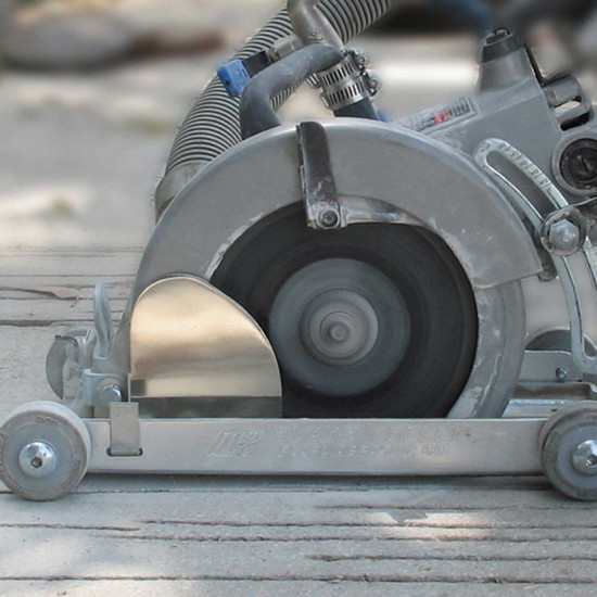 Dry Cutting with SawVac Vacuum Attachment